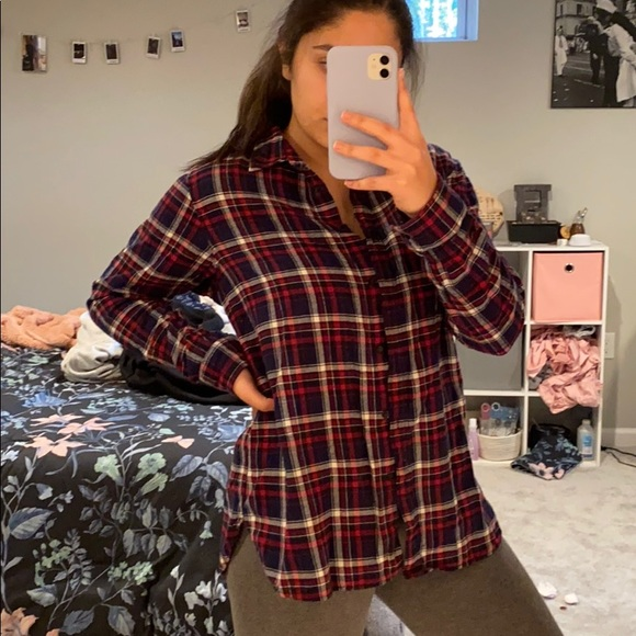 Uniqlo Tops - Red blue and white flannel